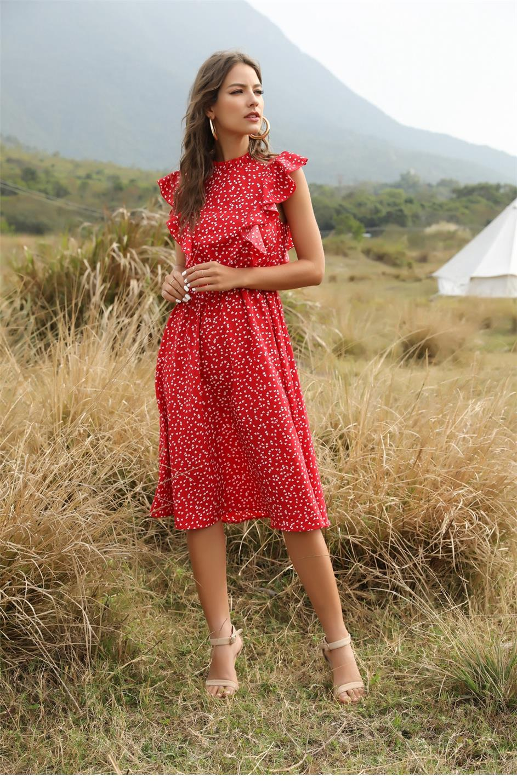 Dot Print Butterfly Sleeve Ruffles Medium Long Chiffon Dress 6