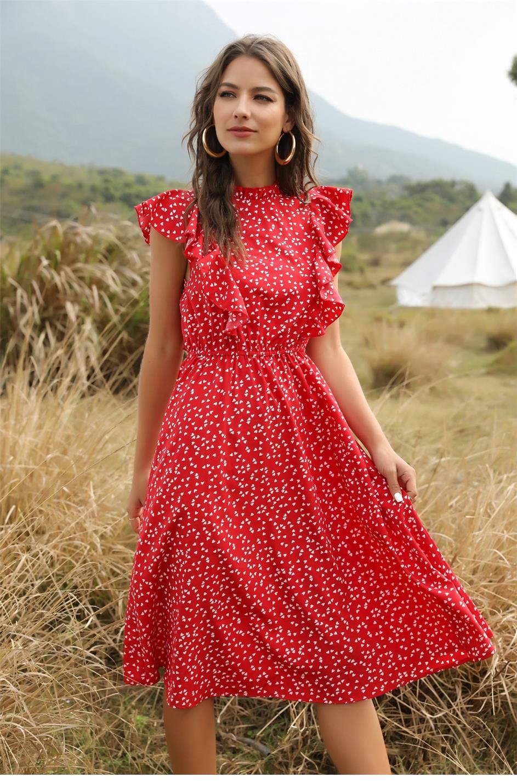 Dot Print Butterfly Sleeve Ruffles Medium Long Chiffon Dress 7