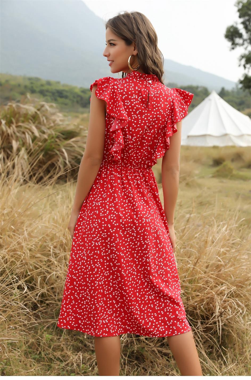 Dot Print Butterfly Sleeve Ruffles Medium Long Chiffon Dress 10