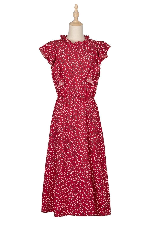 Dot Print Butterfly Sleeve Ruffles Medium Long Chiffon Dress 11