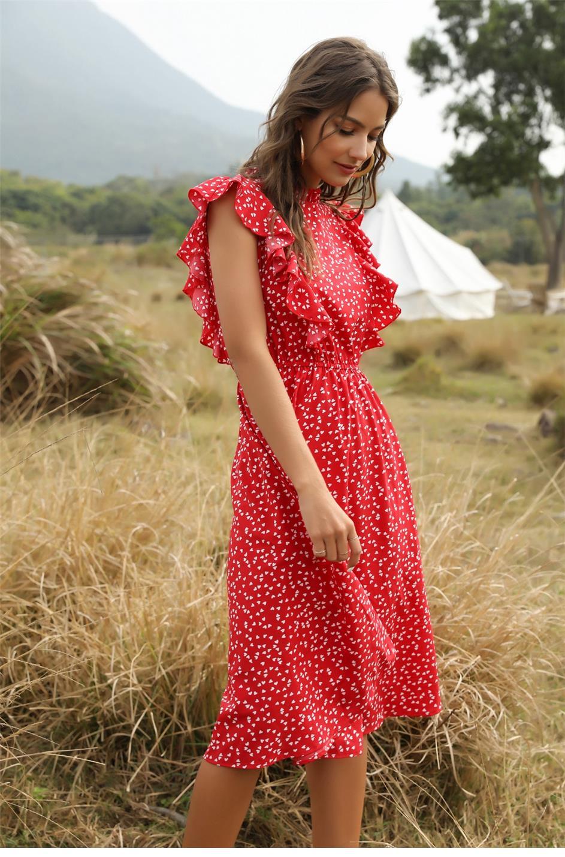 Dot Print Butterfly Sleeve Ruffles Medium Long Chiffon Dress 8