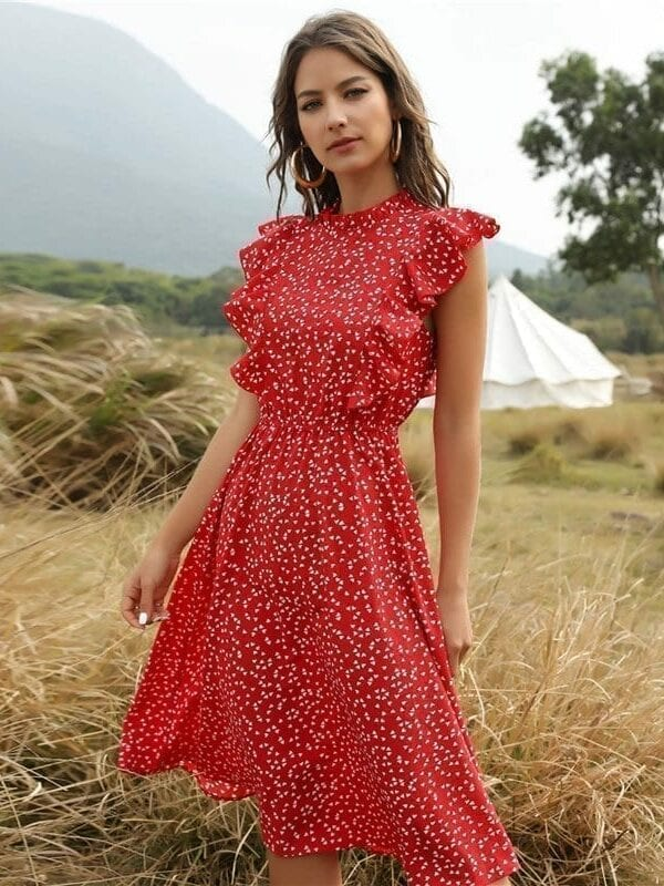 Dot print butterfly sleeve ruffles medium long chiffon dress