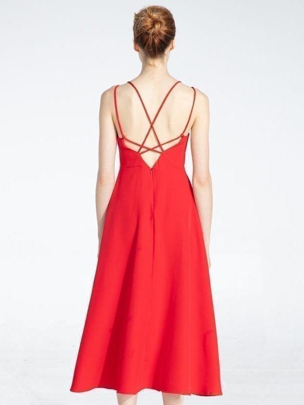 Cross spaghetti strap open back solid ankle-length women dress