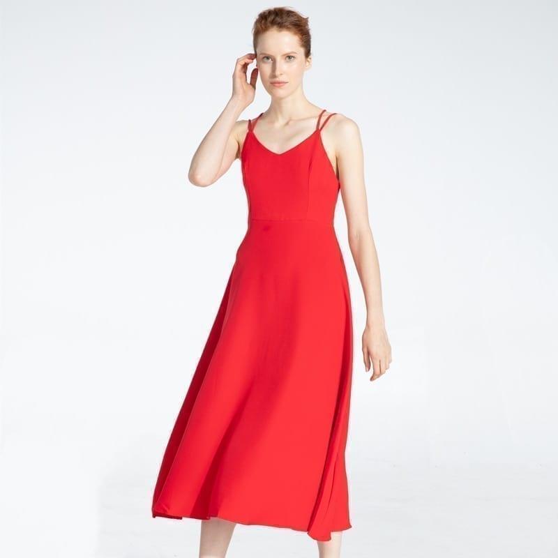 Cross Spaghetti Strap Open Back Solid Ankle-Length Women Dress 7