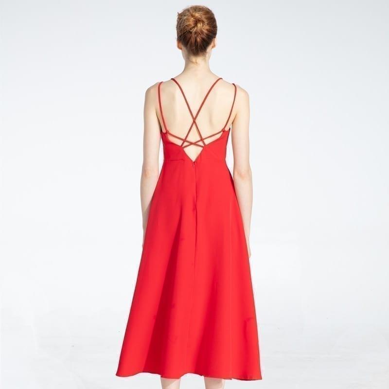 Cross Spaghetti Strap Open Back Solid Ankle-Length Women Dress 6