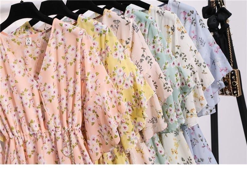 Chiffon Knee Length V-Neck Print Sweet Ruffle Sleeeve Slim Casual Drawstring Dress