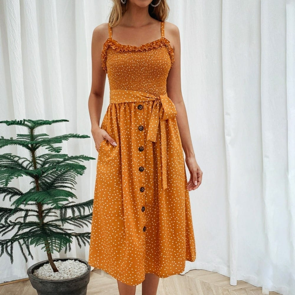 Sexy Summer Sleeveless slip Dress Women Strapless Bow Button loose bandage Pleated polka dot sundress casual Backless Vestidos