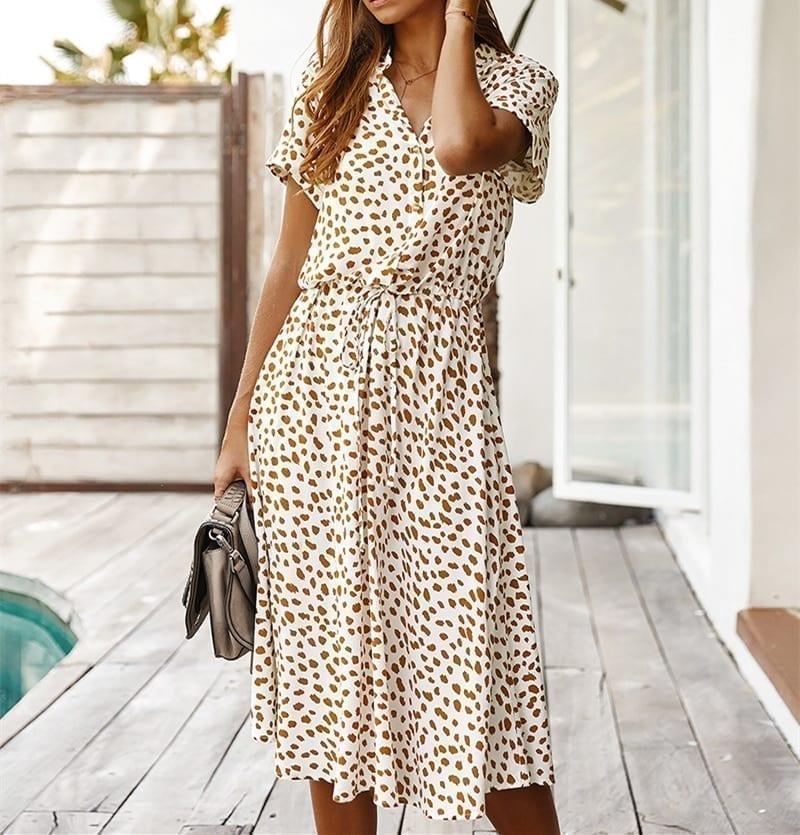 Ladies Bohemian Leopard Print Shirt Dress Women Casual Midi Holiday Summer Dress Female A-line Loose Women Beach Dress Vestidos