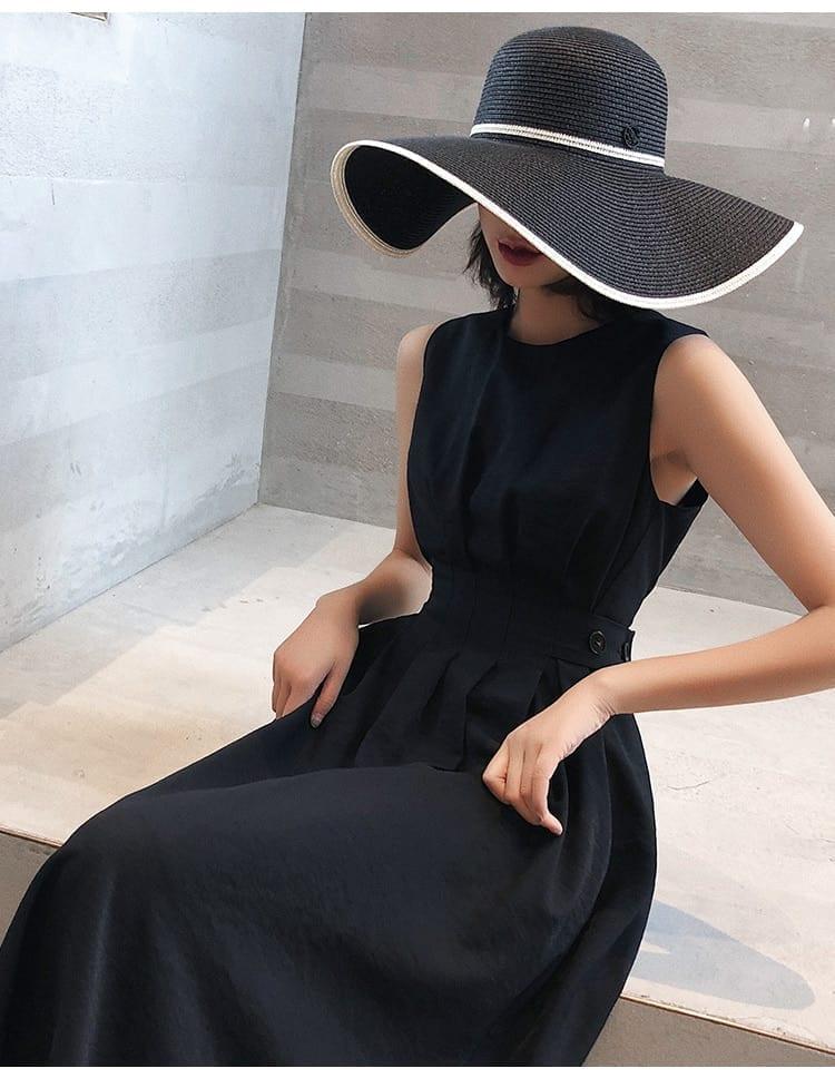 Solid elegant casual party o-neck sleeveless tank dress