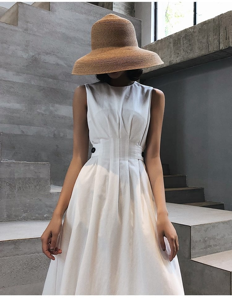 2020 Summer Women Solid White Black Fashion Elegant Casual Party Dress O neck Sleeveless Tank Sundress Female Vestido