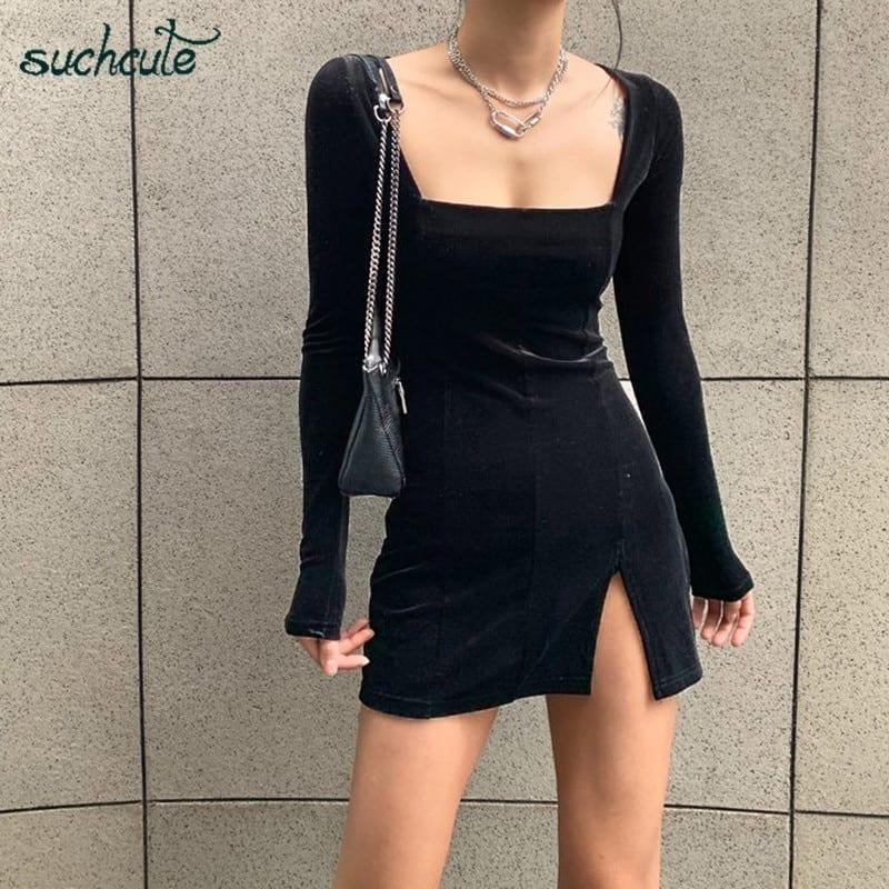 Velvet bodycon long sleeve gothic dress