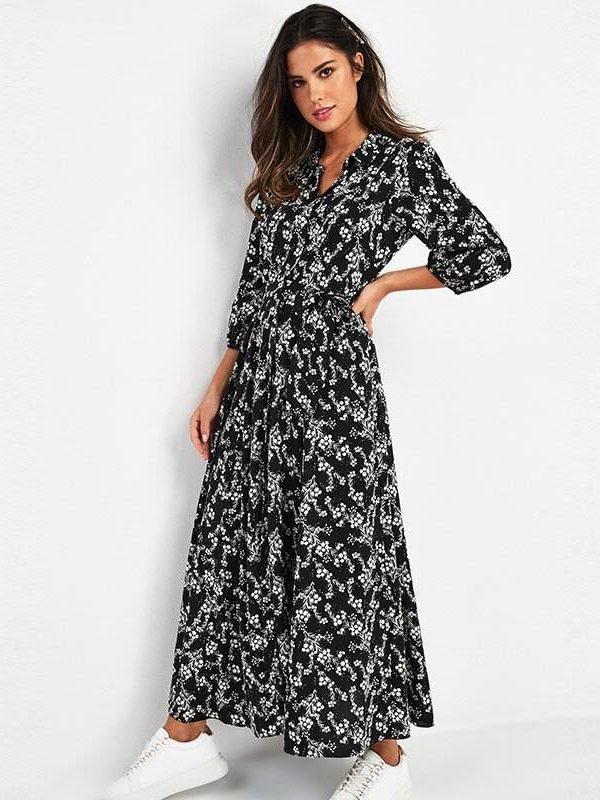 Vintage floral print maxi boho three quarter sleeve dress – black-1, m