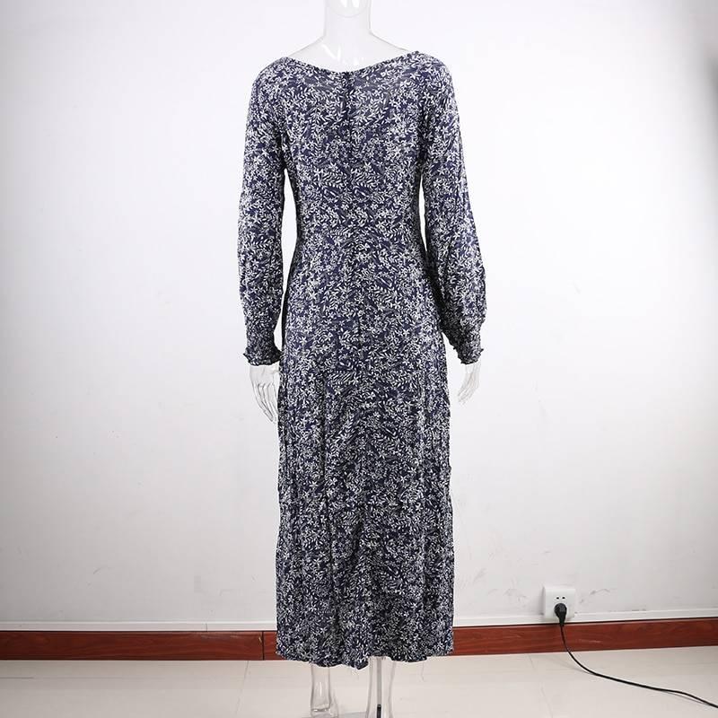 Nadafair Vintage Floral Maxi Dress Summer A-Line High Waist Lantern Sleeve Spring Long Elegant Retro Boho Dress Women Vestidos