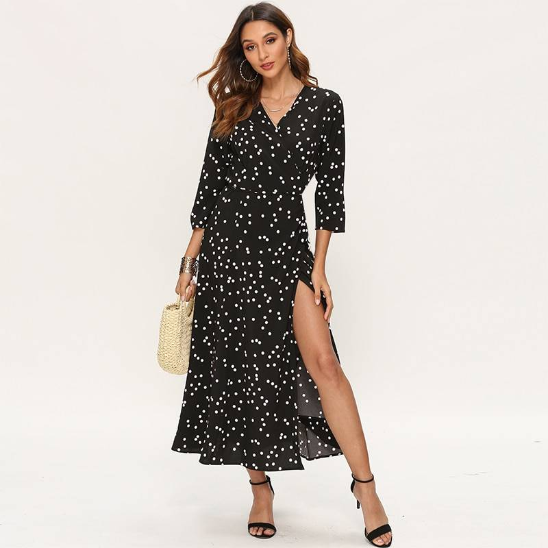Aachoae Women Polka Dot Long Dress Boho Sexy V Neck Split Maxi Party Dress Three Quarter Sleeve Casual Bandage Wrap Dresses
