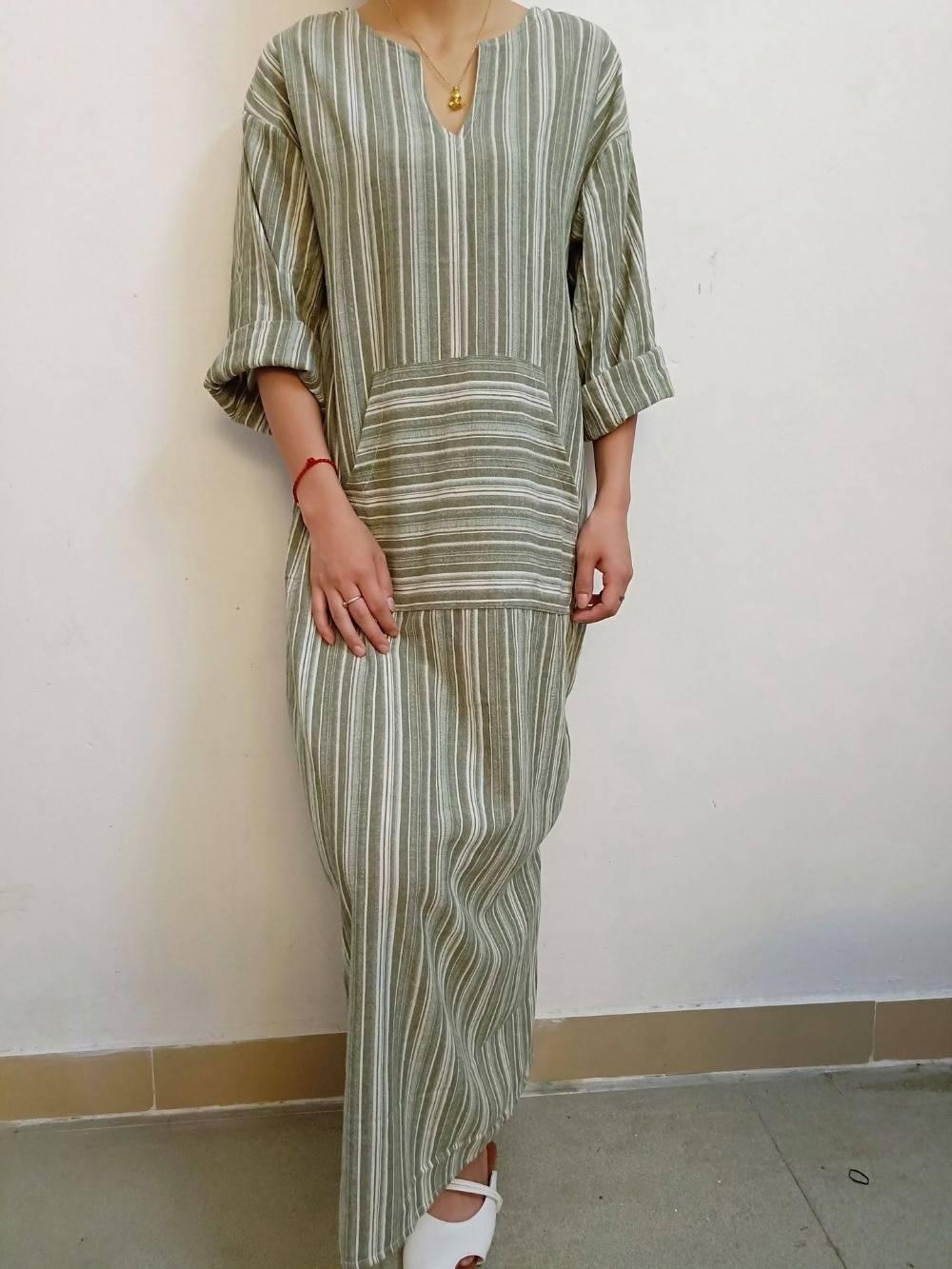 Womens Cotton Linen Dress Big size 5XL large size Kaftan Long Sleeve 2020 Summer Striped Women Plus Size Long Maxi Boho Dresses