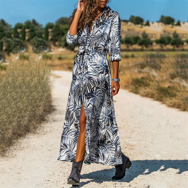 Forefair Beach Dress Boho Floral Printed Tie Waist Summer Holiday Chiffon Long Sleeve Plus Size Slim Maxi Casual Dress Women