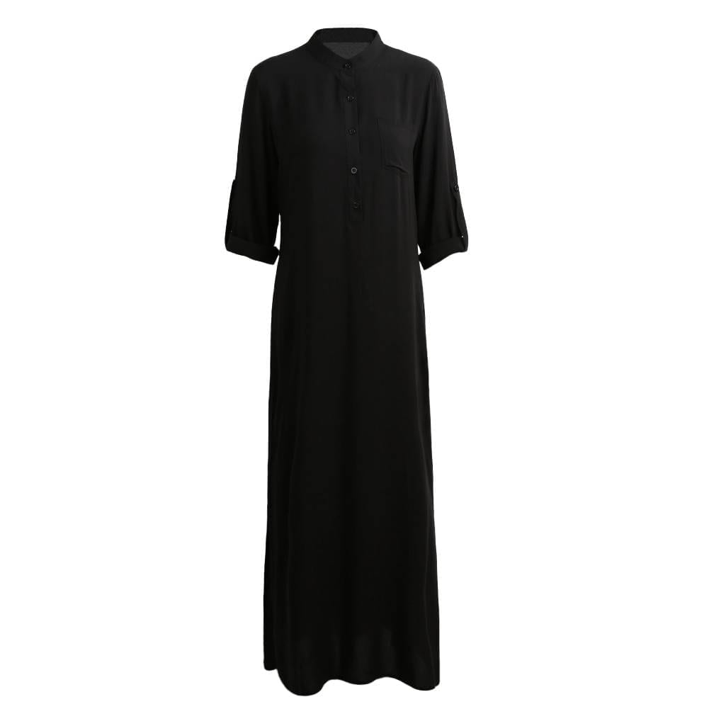 EaseHut Summer Dress Women 2020 Boho Solid Rolled Long Sleeve Button Shirt Sundress Elegant Loose Maxi Long Dress Plus Size