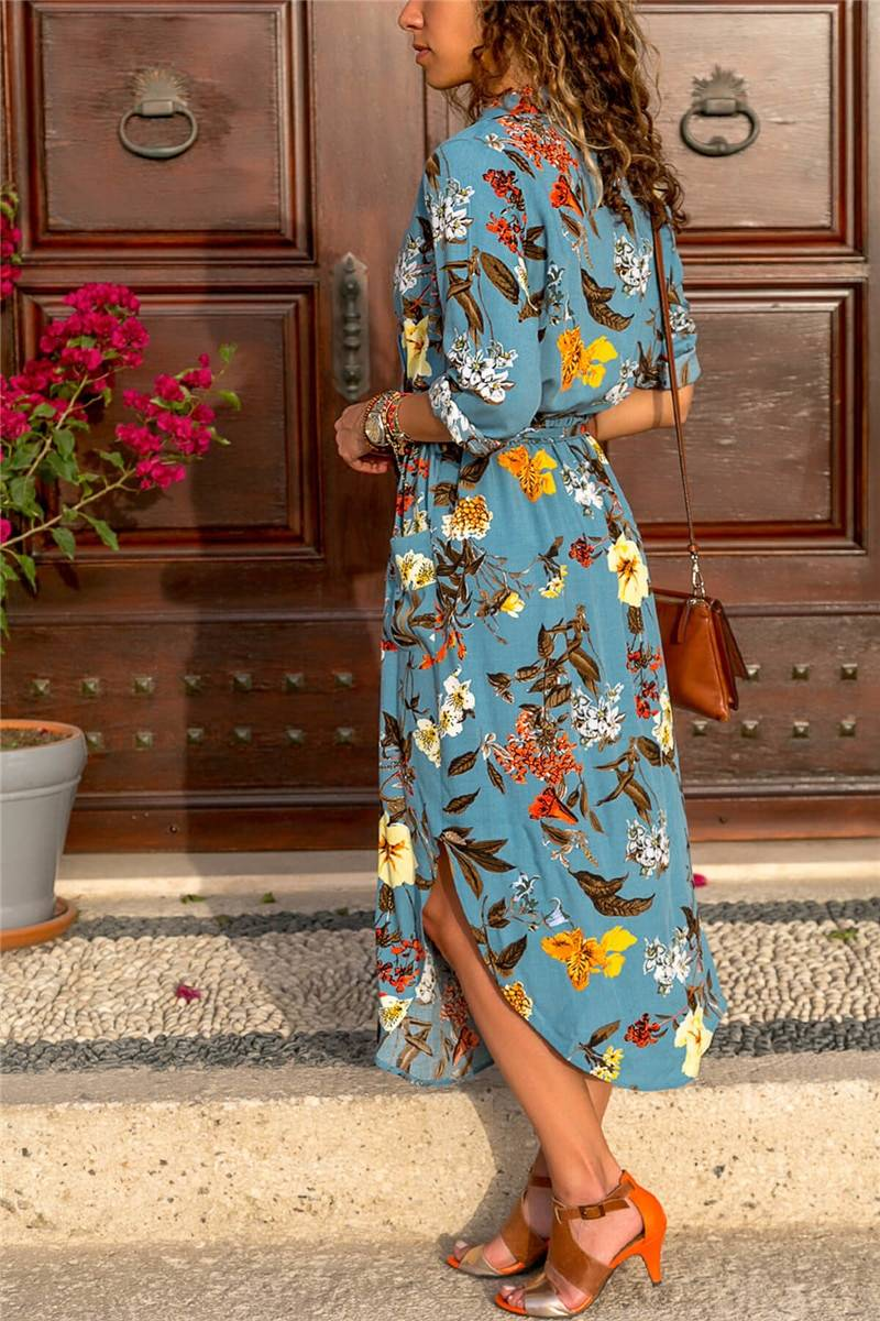 Autumn Dress 2020 Women Boho Print Maxi Long Dress Casual V-Neck Long Sleeve Sashes Elegant Party Dress with Pocket Robo Femme
