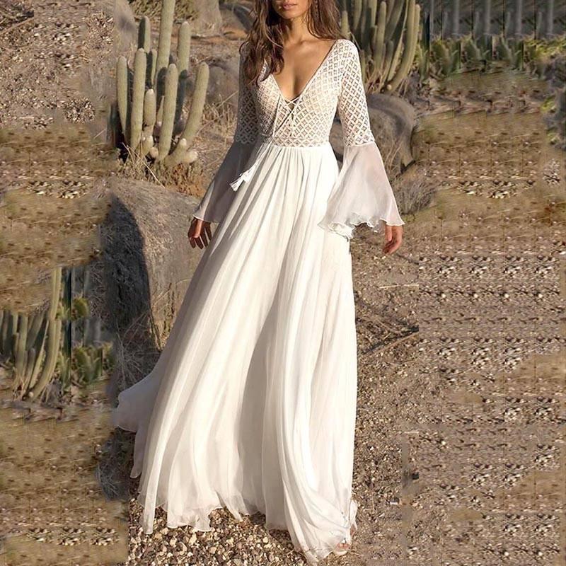 Paris Girl Bohoartist Women Dress Long Flare Sleeve V Neck White Hollow Boho Lace Maxi Dress Holiday Chic Summer Female Dresses