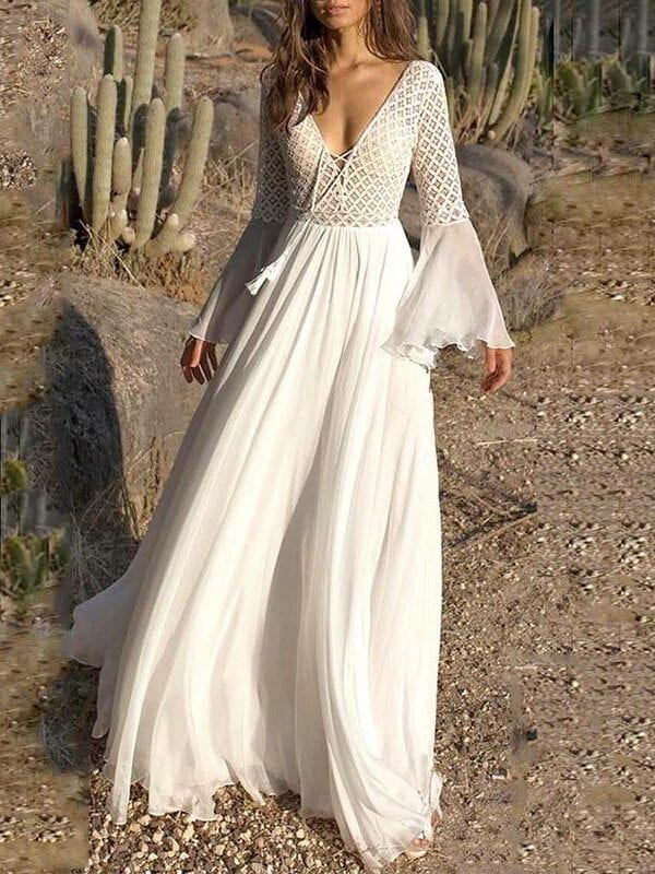 Long flare sleeve v neck hollow boho lace maxi dress