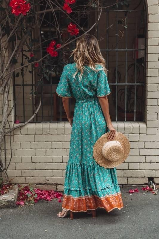 Jastie Vintage Print Maxi Dress Waist tie Ruffle Hem Boho Dresses Women Beach Long Dresses V-Neck Short Sleeve Summer Dress 2020
