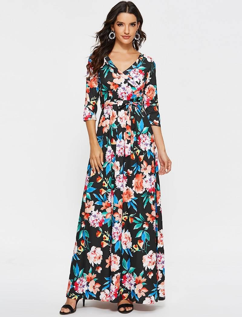 Aachoae Long Maxi Dress For Womens 2020 Vintage Floral Print Casual Sashes Dress Half Sleeve V Neck Boho Dresses Vestidos Largos