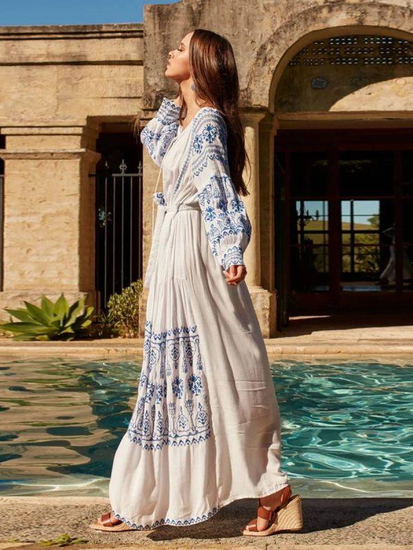 Long sleeve embroidery vintage boho long dress