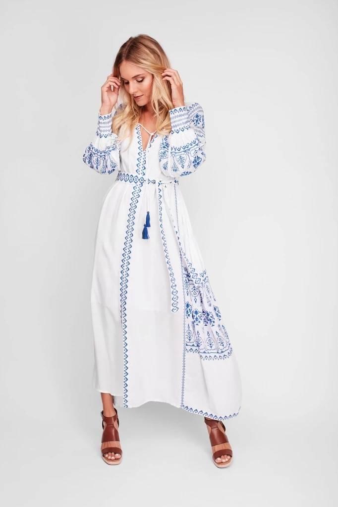 Jastie Bahia Maxi Dress Women Summer Fall Long Sleeve Embroidery Vintage Long Dress 2020 Boho Beach Hippie Loose Vestidos Mujer