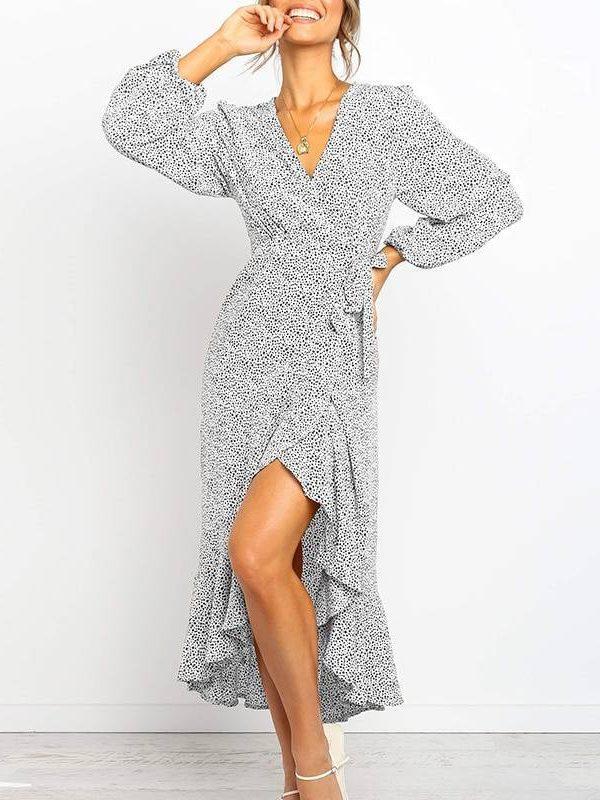 Long maxi dot print three quarter sleeve ruffle warp dress