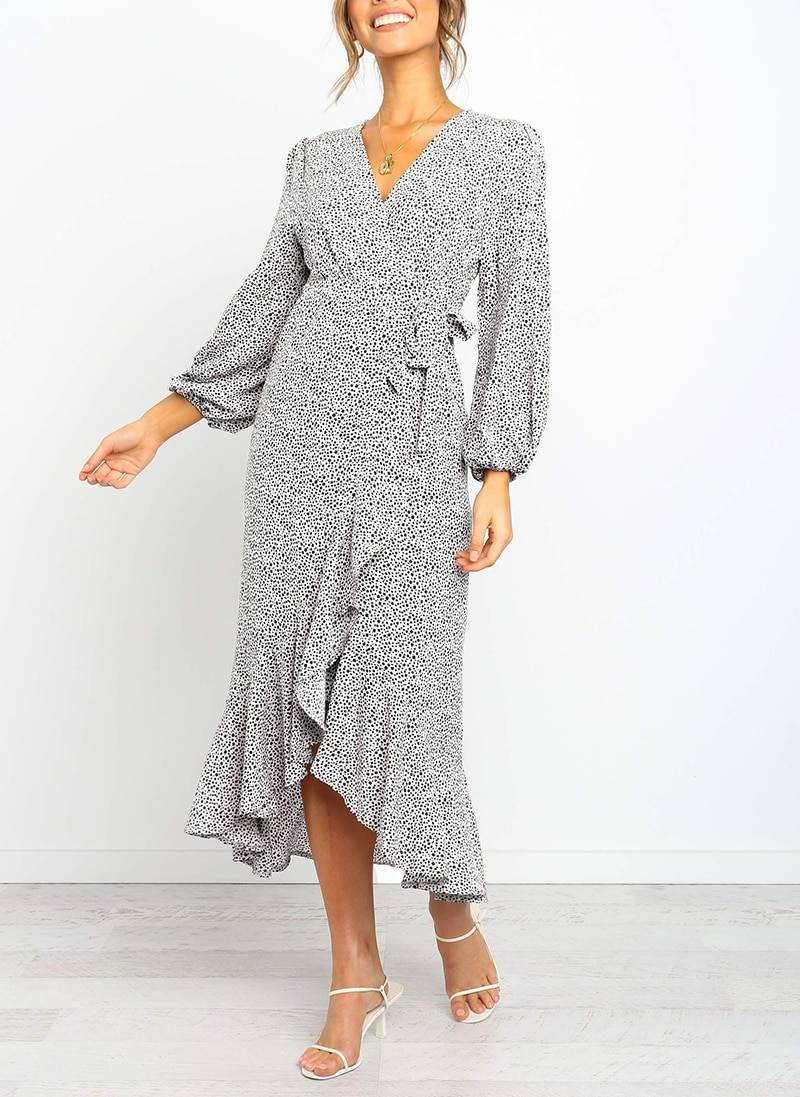 Aachoae 2020 Long Maxi Dot Print Dress Women Three Quarter Sleeve Ruffle Warp Dresses Ladies V Neck Split Boho Beach Dress