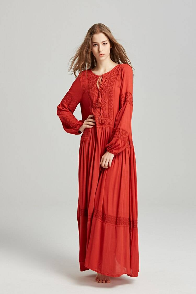 TEELYNN long sleeve maxi dresses women tunic cover up red floral embroidery v neck tassel long dress Casual loose boho vestidos