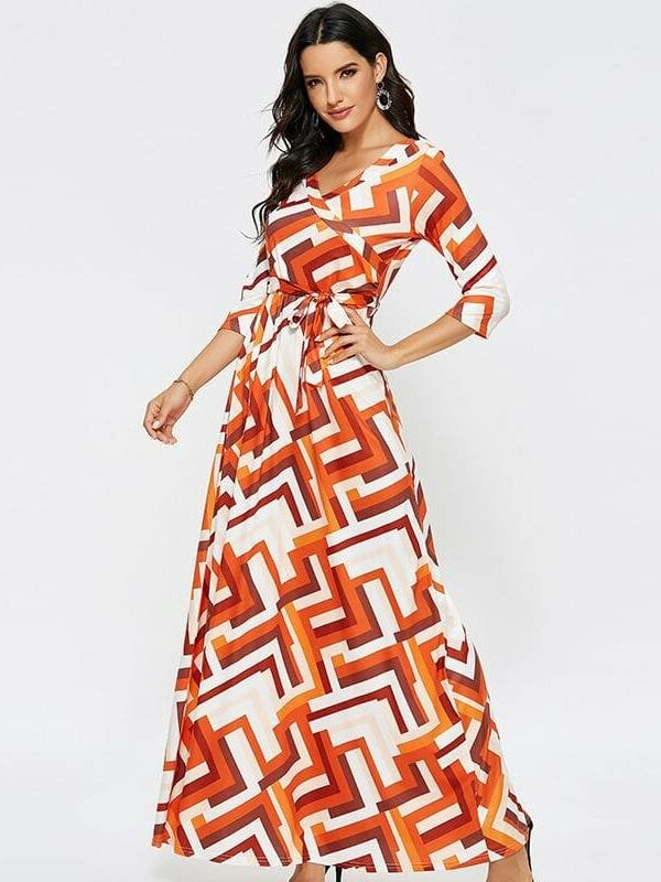 Geometric print  half sleeve casual maxi dress