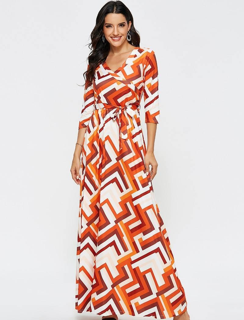 Aachoae 2020 Fashion Geometric Print Long Dress Women Spring Half Sleeve Casual Maxi Dresses Ladies Sexy V Neck Boho Beach Dress