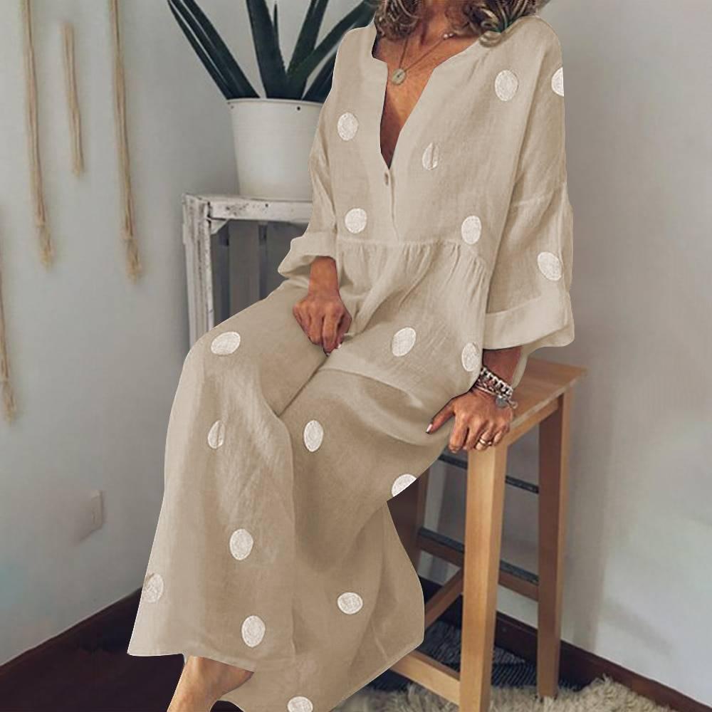 Polka dot v-neck long sleeve casual boho maxi dress