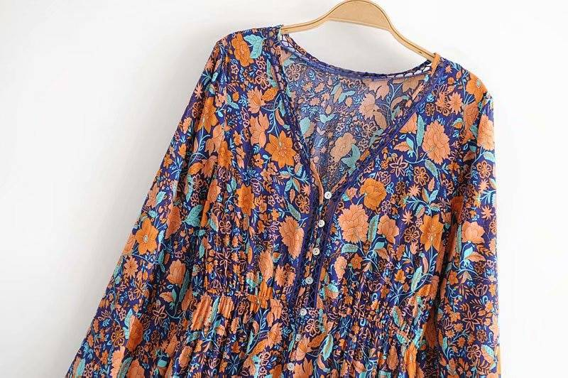TEELYNN Maxi Dress rayon orang floral print sexy v-Neck long sleeve boho Dresses Gypsy long women dresses 2019 Bohemia vestido