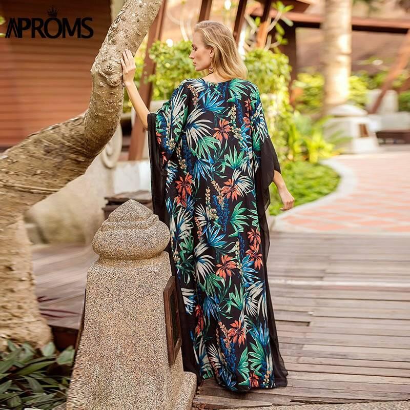 Boho tropical floral print long sleeve v neck maxi dress