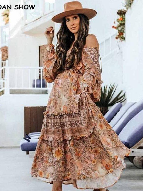 Bohemian lacing up bow v neck floral print dress