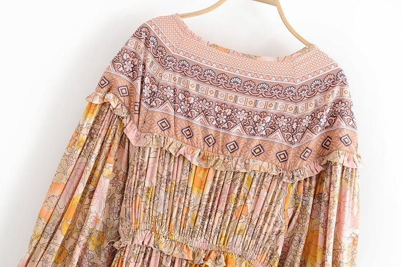 2019 Women Bohemian Lacing up bow V neck Floral Print Dress Stitching Wood ear Ruffle Lantern Long Sleeve Maxi long BOHO Dresses