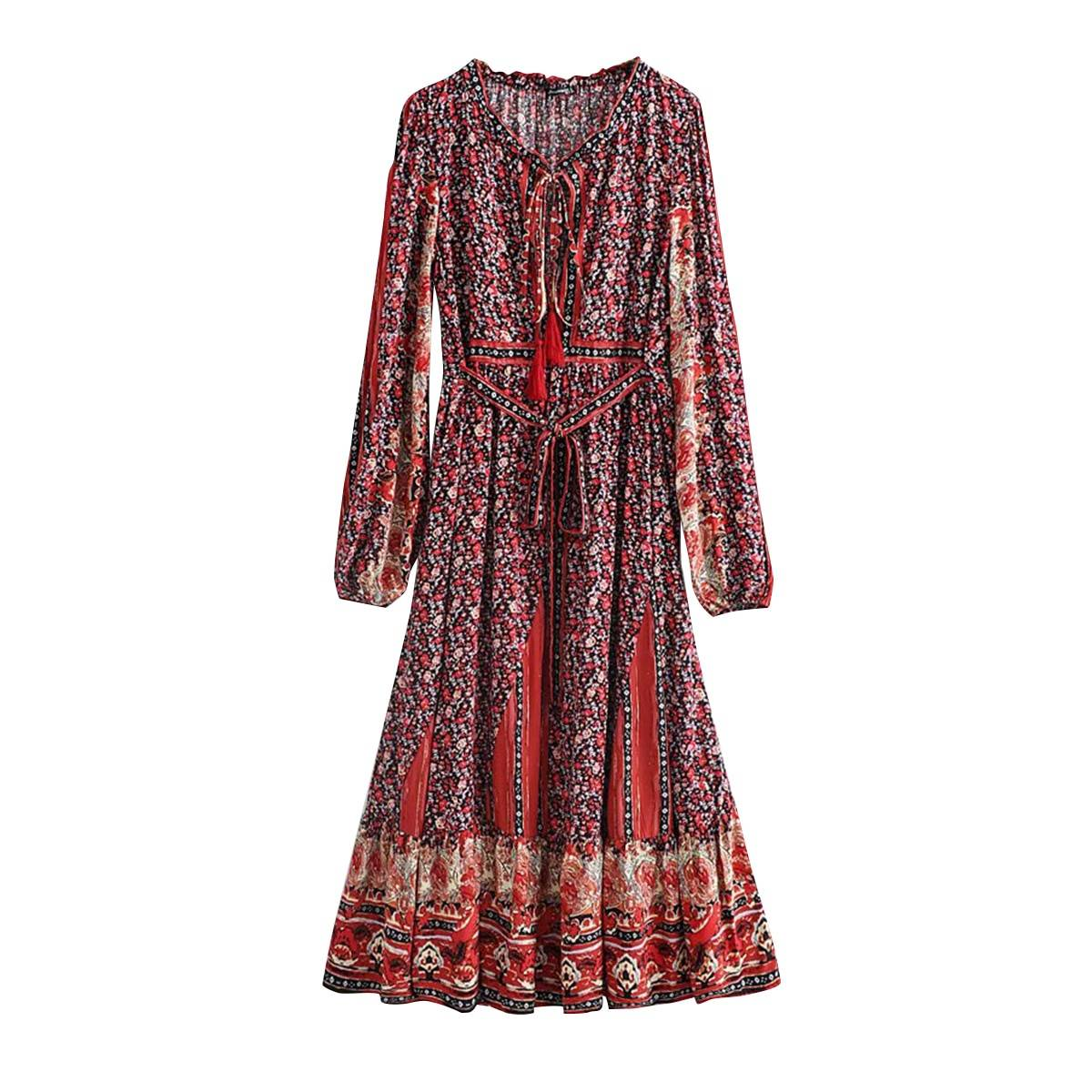 Long sleeve cotton floral print loose casual maxi dress