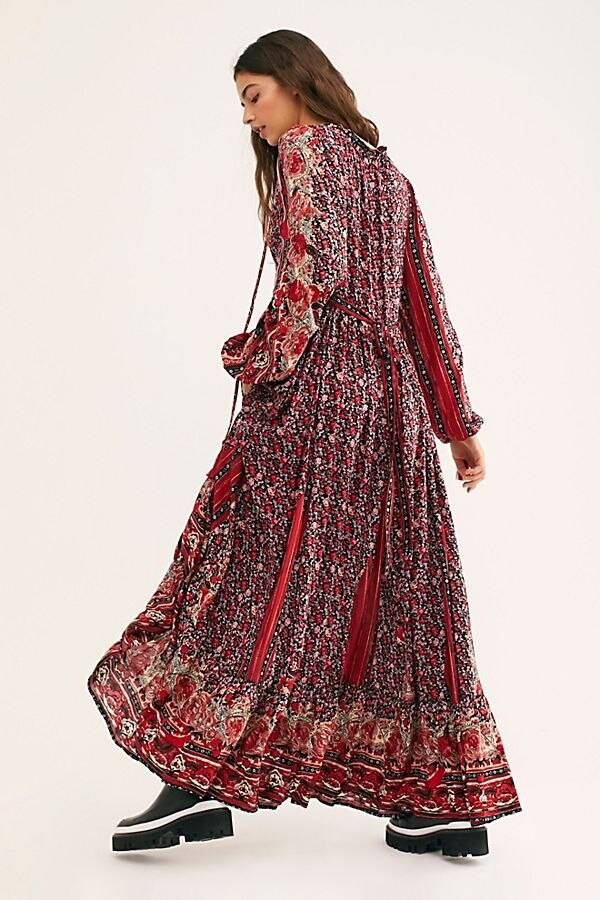 TEELYNN Long Sleeve Maxi Dresses 2020 Vintage cotton floral Print sprint autumn Women Dress boho Beach Loose Casual Vestidos