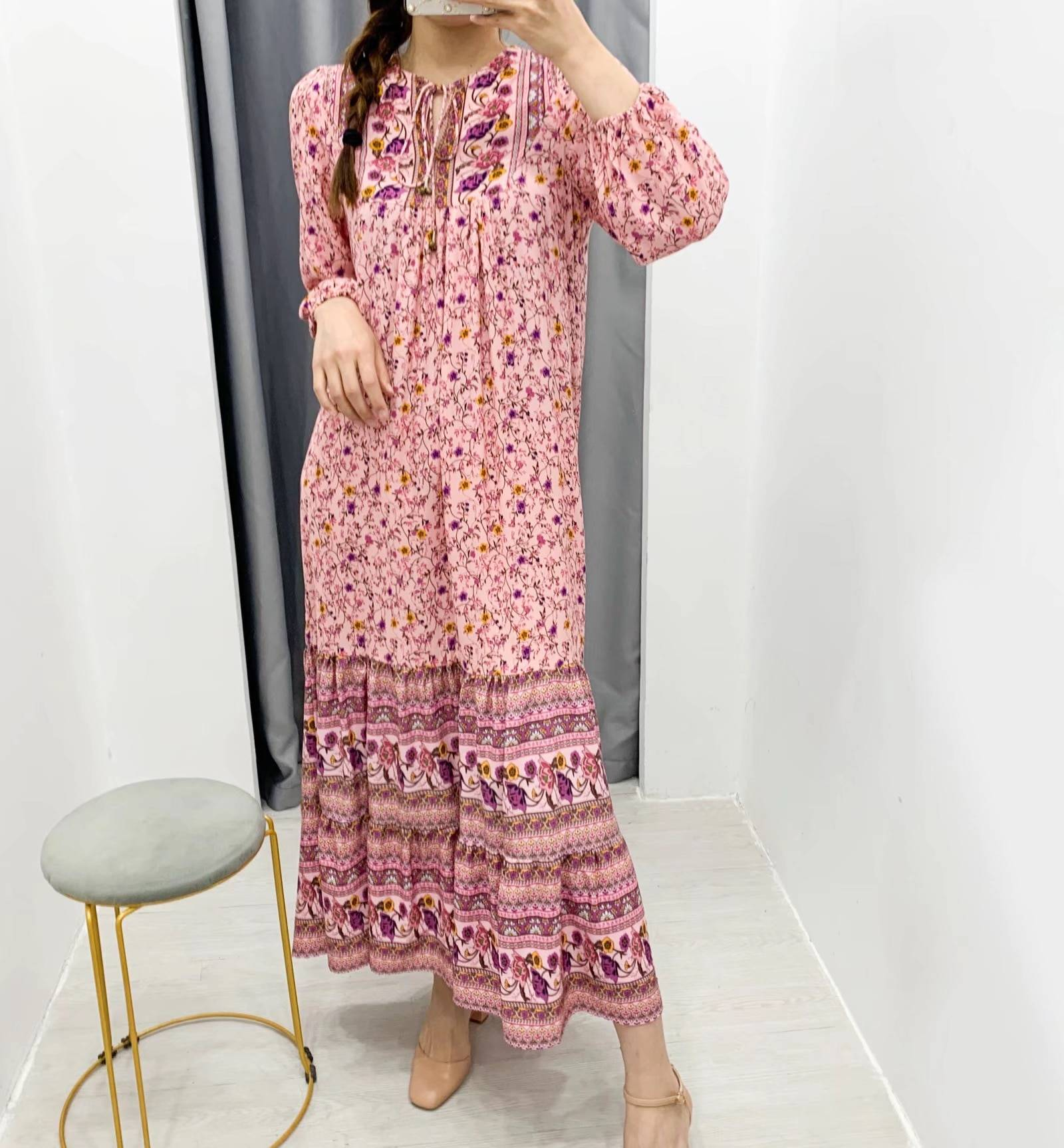2020 BOHO Lacing up V neck Pink Floral Print Long Sleeve Dress Holiday Women Spliced Pleated Hem Maxi Long Dresses Beach Vestido