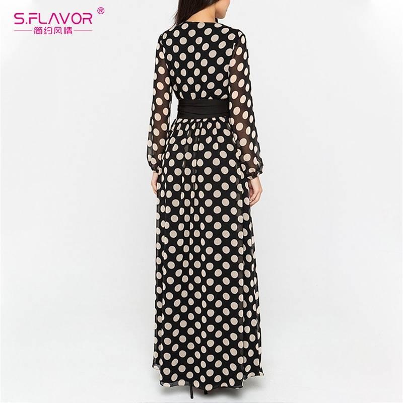 Vintage polka dot printed v neckboho long sleeve chiffon maxi dress