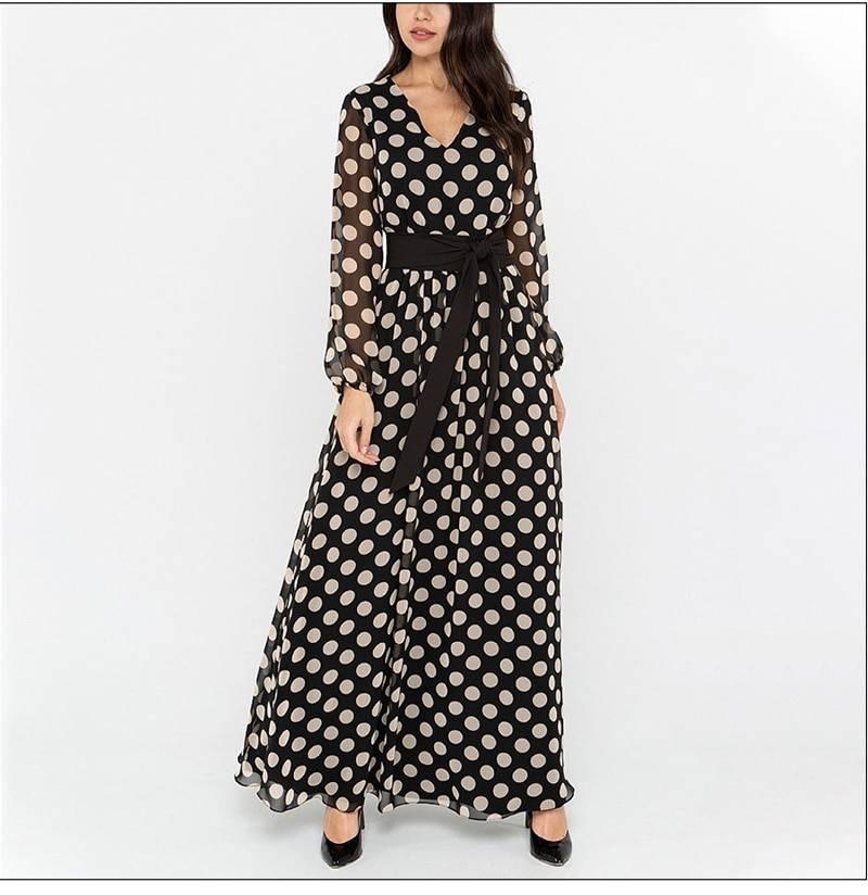 S.FLAVOR Vintage Polka Dot Printed V Neck Women Dress Autumn Boho Long Sleeve Chiffon Maxi Dress Winter Elegant Party Vestidos