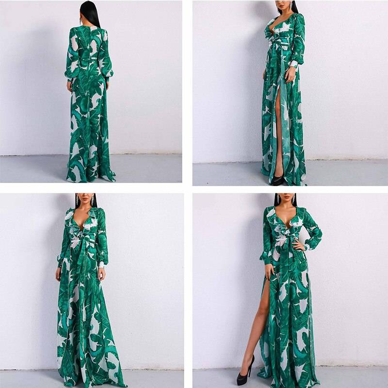 AECU Long Sleeve Dress Tropical Beach Vintage Maxi Dresses Boho Casual V Neck Belt Lace Up Tunic Draped Plus Size Dress