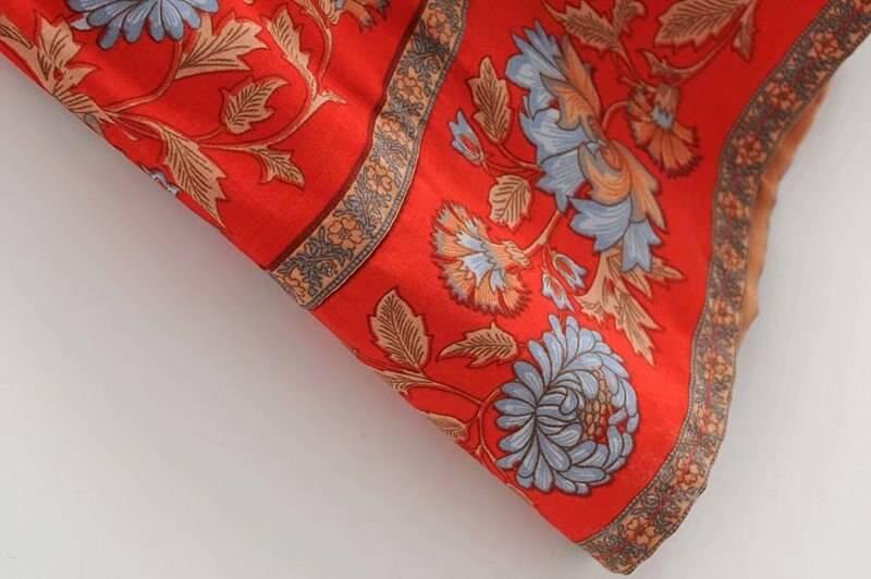 Floral print v-neck 3/4 sleevebohemian maxi dress
