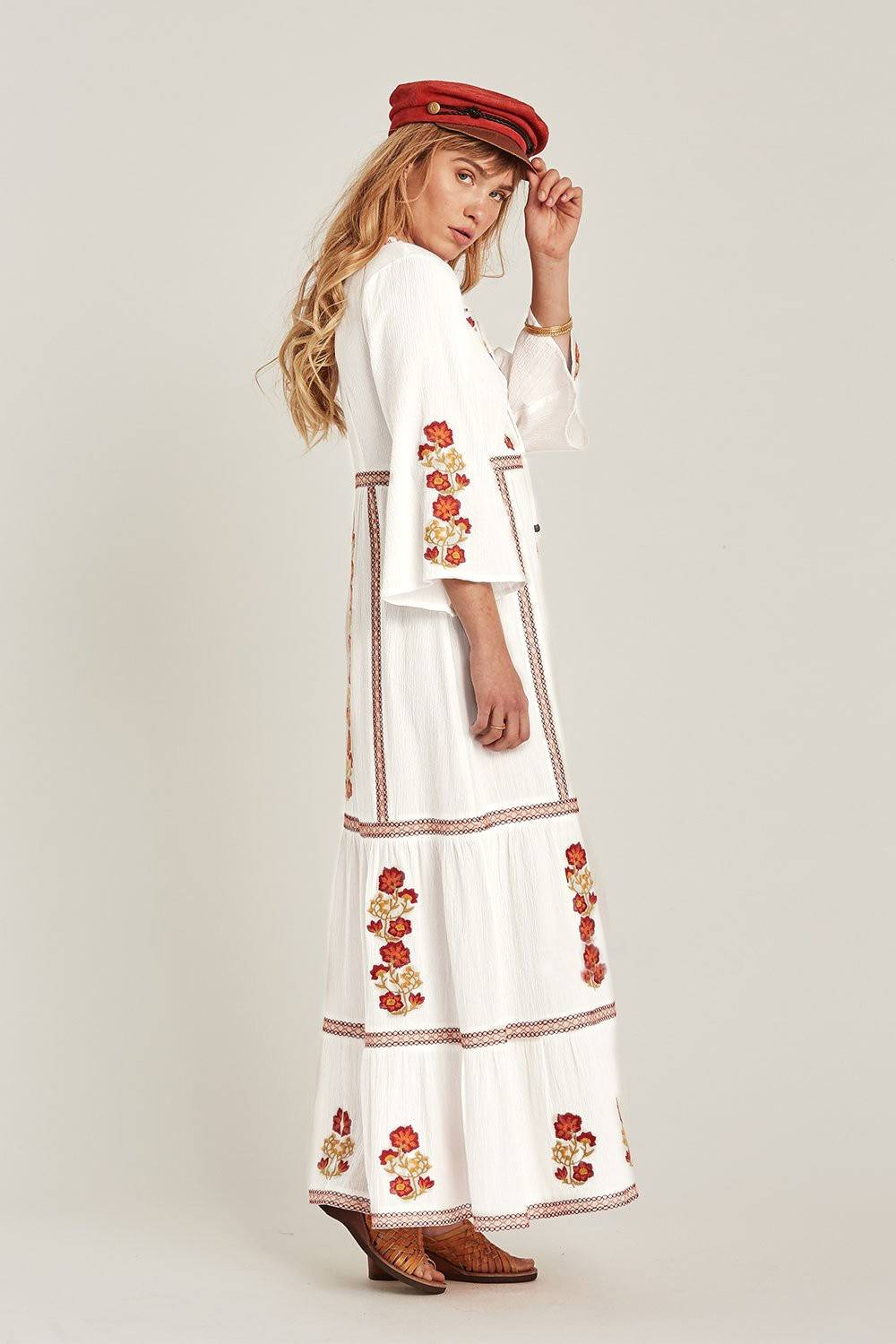 Jastie Bohemian Holiday Women Dress Boho Floral Embroidered Dresses V-Neck Long Sleeve Autumn Maxi Dresses for Women Vestidos
