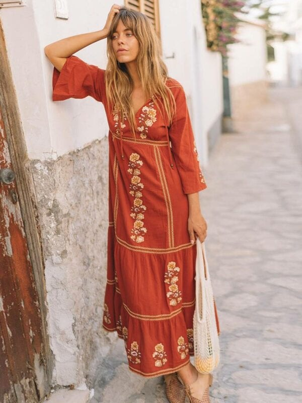 Bohemian floral embroidered v-neck long sleeve maxi dress
