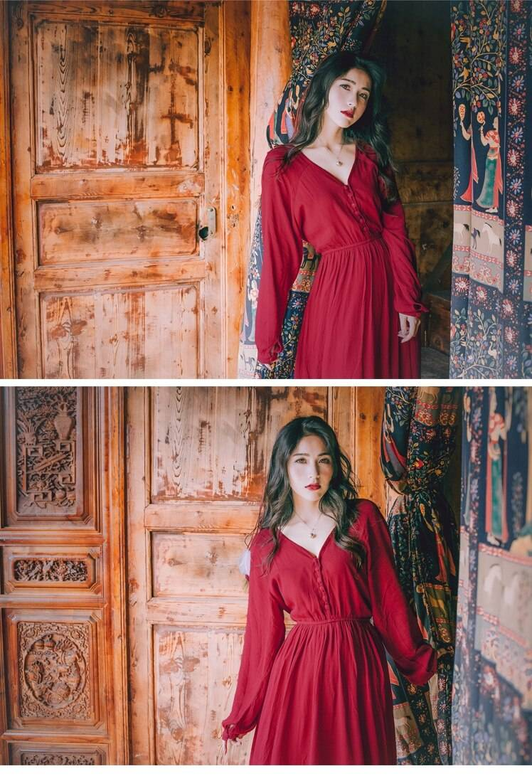 Vintage Red Chiffon Beach Maxi Dress Spring Solid V-Neck Long Lantern Sleeve High Waist Hippie Vocation Boho Womens Dresses Hot