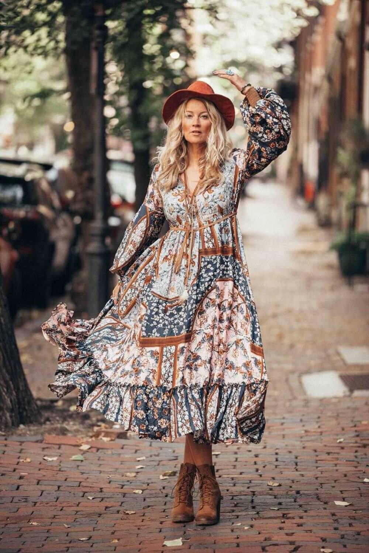 BOHO Spring Bohemian Long Dress Long Sleeve Vintage Ethnic Maxi Dress Chiffon Runway Dress Floral Printing Irregular Retro Dress