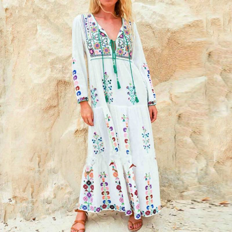 Cotton floral embroidered long sleeve maxi o-neck dress